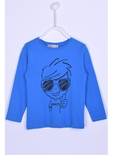 Silversun Kids Baskılı Uzun Kollu Örme Tişört Bk-213235 Mavi